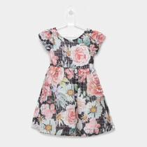 Vestido Infantil Quimby Manga Curta Organza Floral -