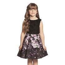Vestido Infantil Renda Preta e Saia Rodada Flores Guipir - Ninali TAMANHO 6 (SKU 4709) -