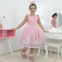 Vestido infantil tema bailarina com tule francês sobre a saia - Moderna Meninas