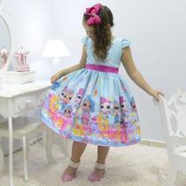 Vestido infantil tema Lol Sereia - Splash Queen - Moderna Meninas