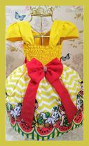 Vestido Infantil tema Magali Amarelo - Primicias