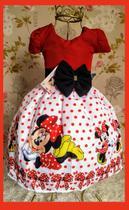 Vestido Infantil tema Minnie Vermelha Bolinha - Primicias
