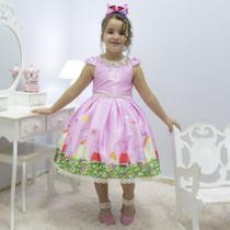 Vestido infantil tema Peppa Pig no jardim - Moderna Meninas