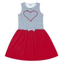 Vestido Infantil - Top Listrado Coração - Algodão e Elastano - Vermelho - Duduka -