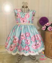 Vestido Jardim Encantado Festa Infantil Luxo Ninho Z -  1 ano -