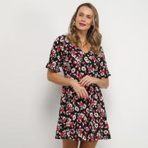 Vestido Lily Fashion Evasê Curto Floral Babado Decote Costas -