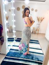 Vestido Longo Floral/bege Tam P -