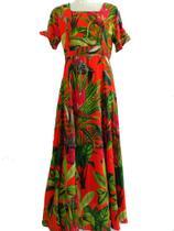 Vestido Longo M Ensaio Fotográfico Geizi Laranja Casamento Moda Evangélica Cristã Ccb - Geysi
