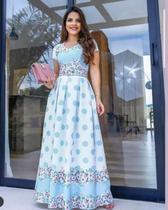 36fd79ce84 Vestido Longo Paola Neoprene com Cinto Moda Evangélica - Flor de amêndoa