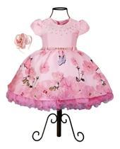 Vestido Luxo Festa Infantil Tema Jardim Encantado  Rosa - Leri Kids