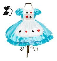 Vestido Luxo Infantil Alice No País Das Maravilhas - Temático
