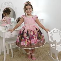 Vestido luxuoso infantil da masha e o urso no jardim encantado - Moderna Meninas