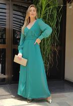 Vestido madrinha verde manga longa ref. 2581 - Seuvestido