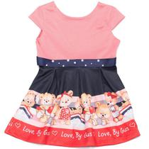 Vestido Menina Baby Com Laço Frontal Estampa Ursinhos - By Gus