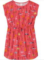 Vestido Menina Marisol Play Flamingos Vermelho com cadarço -