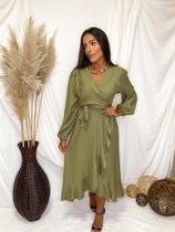 Vestido Midi Jully bababos na saia - Verde G1 - Bless