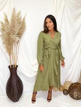 Vestido Midi Jully bababos na saia - Verde P - Bless