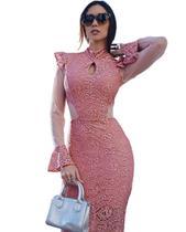 b2343814f0 Vestido Midi Manga Casamento Formatura Elegante Rose - Menina veneno vestidos  panicat