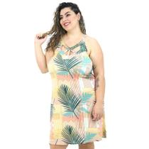 Vestido Midi Plus Size Florido Floral Alça Média Com Decote - Kroft