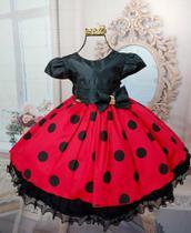 Vestido Minnie vermelha  ou joaninha Bolinhas Pretas 1763 - Menina bonita