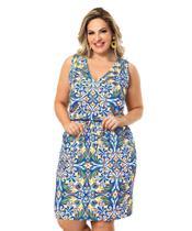 Vestido Moda Feminina Plus Size Midi Madrinha Azul Tamanho G3 - La Belle Moda Plus Size