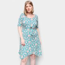 Vestido Naif Plus Size Curto Floral Amarração -