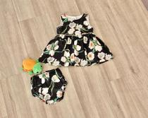 Vestido Para Bebê Estampa De Tulipas Brancas - Acompanha Tapa Fralda - TAM M (3 a 6 meses) - Tutti Bella