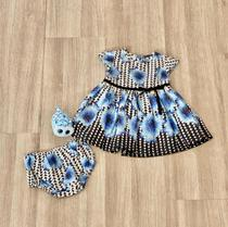 Vestido Para Bebê Estampa Preta e Flores Azuis - Acompanha Tapa Fralda - TAM M (3 a 6 meses) - Tutti Bella