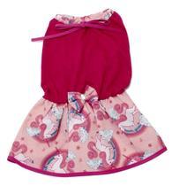 Vestido Para Cachorro Malha Com Lacinho Rosa Unicórnio M - Nica Pet