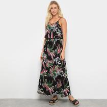Vestido Péola Longo Alça Corino Floral - Pérola