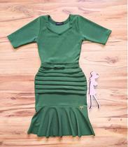 Vestido Peplum Roberta Saia Bella - SB7100875 -  Verde -