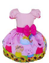 Vestido Peppa Pig Rosa Girassol Luxo B Liso - Sanri Vestindo Sonhos