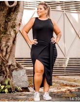 Vestido Plus Size Canelado de Amarrar Transpassado - Ziriguipê
