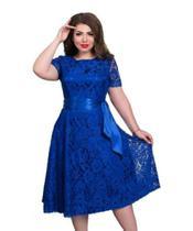 Vestido Plus Size Renda Madrinha Festa Rodado Aniversario - Shoopweb