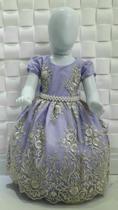 Vestido Princesa Fino Renda Estruturada Festa Casamento Aniversario Lilas Lindo!!!! - Ranna Bebe