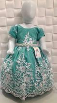 Vestido Princesa Fino Renda Estruturada Festa Casamento Verde 2/3 anos - Ranna Bebe