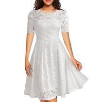 Vestido Renda Casamento Civil Festa Aniversario Noiva Rodado - Shoopweb