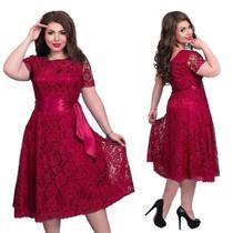Vestido Renda Plus Size  Vestido Madrinha Festa Batizado Gospel - Shoopweb