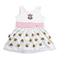 Vestido revedor corinthians urso menina branco e rosa bebê -
