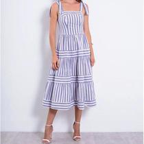 Vestido Richini Midi Tricoline Listrado Feminino Richini -