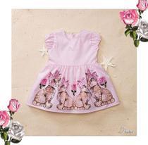 vestido rosa claro tigrinhos na barra bolas brancas nas costas PMini tamanho G -