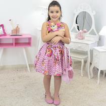 Vestido Skye da Patrulha Canina Com Bolsa Rosa e Pelúcia - Moderna Meninas