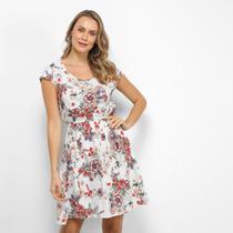 Vestido Sofia Fashion Evasê Curto Floral -