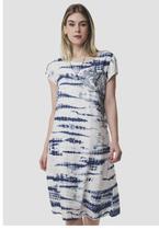 Vestido Soltinho Estampado Branco e Azul Sob com Bordado Flor -