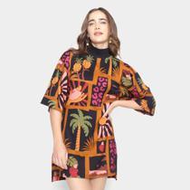 Vestido T-shirt Farm Colagem Tropical Feminino -