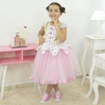 Vestido Temático Infantil Circo Rosa com pompom - Moderna Meninas
