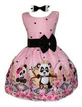 Vestido Temático Urso Panda Rosa - Pequenos Encantos Baby