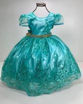 Vestido verde realeza Ariel luxo festa aniversario infantil - Princesa Francesa