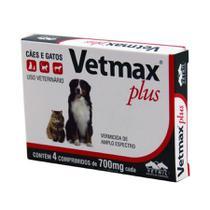 Vetmax Plus Vermífugo 10kg 4 comp Cães e Gatos Vetnil -