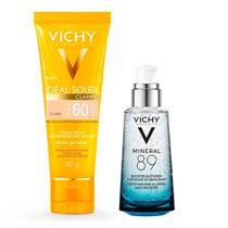 Vichy Minéral 89 Ideal Soleil Clarify Clara Kit  Hidratante Facial + Protetor Solar FPS60 -